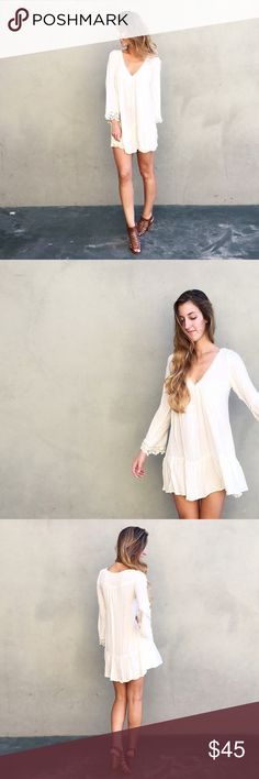   new   long sleeve boho dress offers welcome new with tag ivory/cream unlined boho dress with long flowy sleeves and crochet detail. modeling size small. •680966• Dresses Long Sleeve