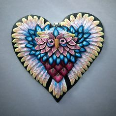 Owl Pendant, Owl Necklace, Woodland Pendant, Heart Pendant, Polymer Clay Pendant, Pink Heart Owl Pendant by Deb Hart #rengalsa