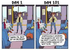 Taking Public Transit: Day 1 vs Day 101 - CollegeHumor Post Funny Cute, The Funny, Hilarious, Satirical Illustrations, Fun Comics, Life Comics, Funny Comic Strips, Funny Memes, Jokes