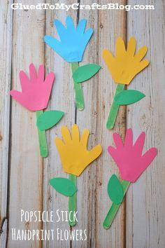 sunday school crafts preschool Popsicle Stick Handprint Flowers - Kid Crat Idea For Mother's Day Daycare Crafts, Sunday School Crafts, Classroom Crafts, Toddler Crafts, Preschool Crafts, Easter Crafts, Flower Craft Preschool, Science Crafts, Spring Crafts For Kids