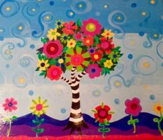 Flower Tree Table and Chairs Custom Children's by CreateJoyByJudy