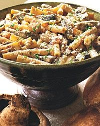 Ziti with Portobello Mushrooms, Caramelized Onions and Goat Cheese-use whole wheat pasta and up the amount of mushrooms so more veggies than pasta.