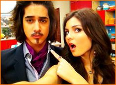 Victoria Justice And Avan Jogia Film For The Slap And Wear Fun Facial Hair