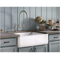 "Sometimes called a ""farmhouse sink"", this beautiful style evokes the charm of a traditional kitchen and can be installed with only minor modifications to existing kitchen cabinetry and countertops."