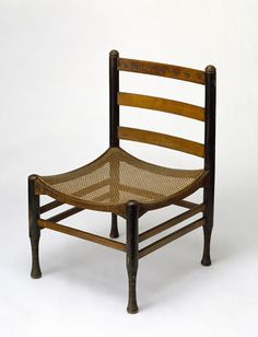Egyptian Revival chair, satinised wood, designed by the painter Ford Madox Brown, 1861-2.