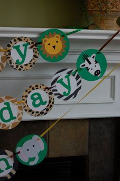 Animal Safari Zoo Birthday Banner by AnyGoodIdeas on Etsy, $20.00