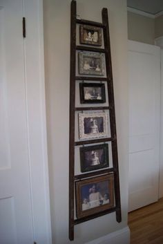 Old ladder + our family photos = Beautiful! (need to sand the ladder i have and do this) Photo Displays, Country Decor, Barn Wood, Home Projects, Ladder Decor, Ladder Display, Diy Home Decor, Sweet Home, New Homes