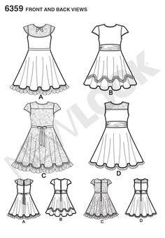 these party dresses for children are perfect for holidays, tea parties, birthdays and more! the sweet touches of lace and trim are just what your princess is looking for. new look sewing pattern. Childrens Sewing Patterns, Simplicity Sewing Patterns, Clothing Patterns, Plus Dresses, Cute Dresses, Girls Dresses, Girls Party Dress, Baby Dress, Party Dresses