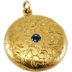 Antique 14K Gold Edwardian Sapphire Floral Engraved Locket Pendant
