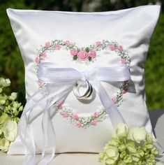Garden Floral Heart Wedding Ring Pillow-Pink