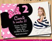 Minnie Mouse Birthday Invitation, Printable Birthday Party You-Print Custom Personalized Digital Photo Card Invites 4x6 or 5x7