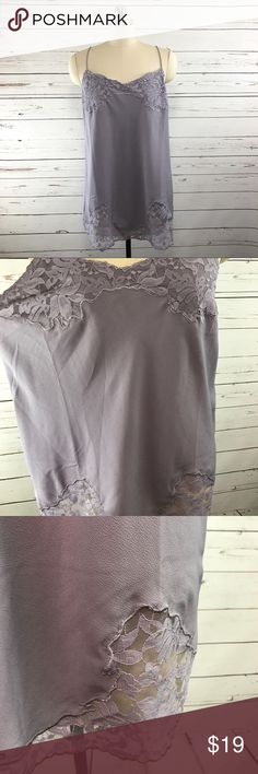 Asos Dusty Lilac Lace Trim Cami Sz US 10 TALL Excellent condition Asos tall lace trim cami. Women's size US 10 tall. Straps are not adjustable.  Measurements (taken with garment laying flat):  Hem width: 22.5 inches  Armpit-to-armpit: 19 inches  Shoulder to hem length: 28 inches   Mannequin on display is a size 4. ASOS Tops Camisoles