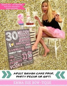 Adult Smash Cake Chalkboard Sign 30th 40th Any Birthday A Personal Favorite