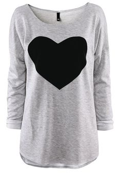Warm and COZY! Gray Heart Print Long Sleeve Cotton T-Shirt #heart #fashion