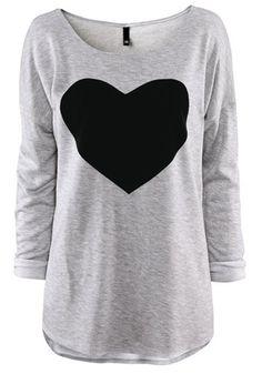 Warm and COZY! Gray Heart Print Long Sleeve Cotton T-Shirt #heart #fashion