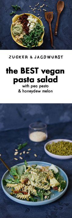 Vegan Pasta Salad with Pea Pesto #salad #pasta