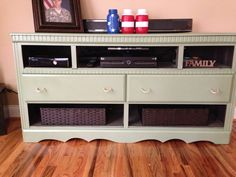 Up cycled dresser to entertainment center