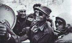 Legendary commander Moshe Dayan and his bandaged general Ari Sharon