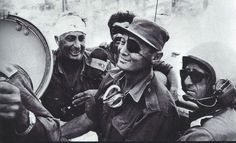 Legendary commander Moshe Dayan and his bandaged general Ari Sharon