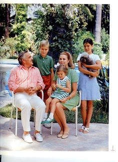 Princess Grace (actress Grace Kelly) & Prince Rainier III of Monaco, with Princess Caroline and Prince Albert and Princess Stephanie