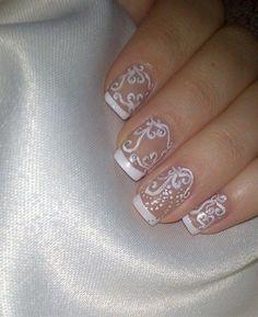 Amazing white nail polish design