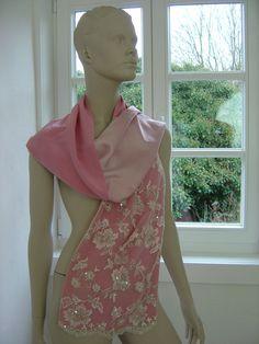Seidenschals - Seidenschal mit Spitze Pink Wedding Lace - ein Designerstück von hofatelier-mode bei DaWanda