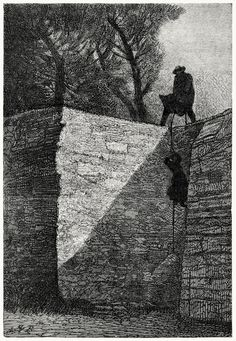 And she felt herself lifted from the ground.  Gustave Brion, from Les misérables, by Victor Hugo, Paris, 1867.