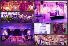 Theme Thursday: Purple is the color of Royalty, and February's flower (violet) and birthstone (amethyst)  both incorporate shades of purple. The contrasts between light and dark purple create a passionate atmosphere for everyone to enjoy on your special day. With the elaborate designs and décor in the collage, your special day is sure to amaze your guests. The modern feel at Heaven Event Center is the perfect venue to host your Royalty Themed Wedding!
