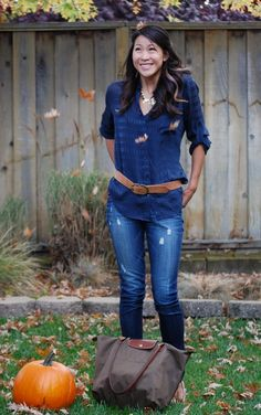 Sheer Navy Blouse and Paige Jeans Outfit with Longchamp Le Pliage Bag