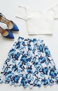 Posy on Over Ivory Floral Print Skirt