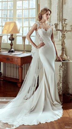 nicole spose bridal 2017 sleeveless illusion jewel sweetheart sheath wedding dress (niab17037) mv train