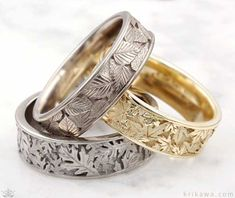 Inspired by nature, these leaf wedding bands are each custom made in the metal and width you want!