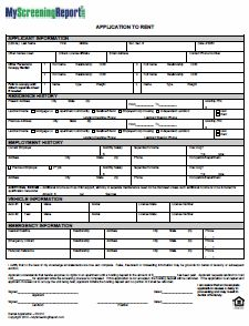 rent application sample