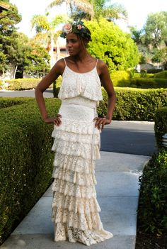 Vintage Inspired Tier Layered LACE MAXI DRESS.  Boho Bohemian Wedding Dress. Available in Ivory White Green Embroidered Stretch Lace