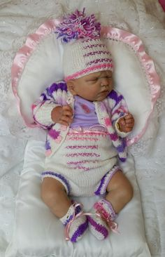 Reborn Baby girl Ebony...Sawyer kit by Emily Jameson...5 lbs & 7 oz's...18 inches...fine blonde rooted hair..Created by me...2015  *SOLD*