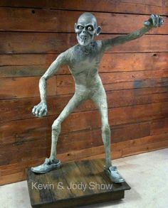 """The 'bare-bones' of Kevin Kidney & Jody Daily's """"Hatbox Ghost"""": """"We sculpted his stick body over a steel armature and stitched together his daft disguise entirely by hand."""""""