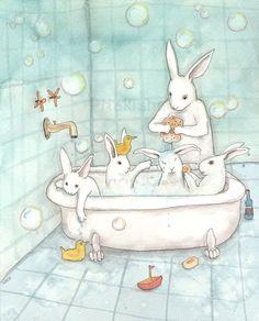 Bath Time  Fine Art Rabbit Print by bluedogrose on Etsy, $20.00