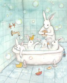 Hora - impresión Fine Art conejo del baño