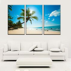 Hawaiian Scene Artwork, Beach and Palm Tree 3 Piece Canvas Set Unique Wall Decor, Home Wall Decor, Cheap Wall Art, Large Scale Art, Home Goods Decor, Canvas Pictures, Nautical Theme, Decoration, Palm Trees