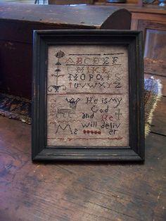 EARLY INSPIRED ~PRIMITIVE 1802 INSPIRATIONAL SAMPLER~ (LB)  Ebay Seller: theprimitivestitcher www.picturetrail.com/theprimitivestitcher