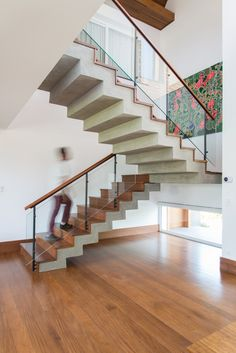 48 modern staircase design ideas for your dream house 1 Staircase Railing Design, Timber Staircase, Home Stairs Design, Interior Stairs, House Design, Stair Design, Stairs In Kitchen, Contemporary Beach House, Wall Tiles Design