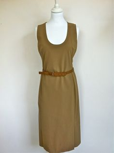 Prada Beige V Neck Dress Size 38 via The Queen Bee. Click on the image to see more!
