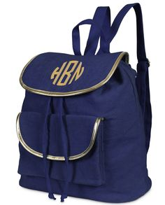 Navy and Gold Monogrammed Durry Backpack