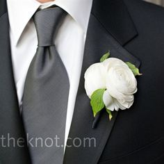Richard and his three groomsmen all wore black tuxes with a notched collar, a deep grey tie, and suspenders instead of vests. Ranunculus and rose blooms popped from their lapels. Black Suit Grey Tie, Black Ties, Wedding Boutonniere, White Boutonniere, Ranunculus Boutonniere, Groomsmen Boutonniere, Groom And Groomsmen, Groom Attire, Boutonnieres
