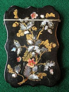 Beautiful & Rare English Papier Mache Calling Card Case MOP Inlay from victoriental on Ruby Lane