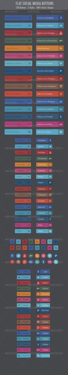 128 Flat Social Media Buttons A set of 128 flat social media buttons. Clean and minimal in subtle, muted colours.128 buttons 2 Sty