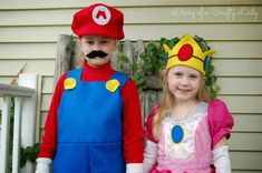 Diary of a Crafty Lady: Meet Mario and Princess Peach! {2013 Halloween Costumes}