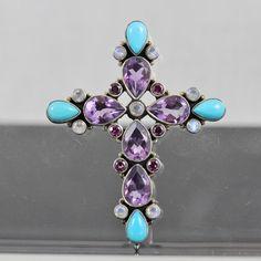 Nicky Butler Amethyst, Turquoise, Moonstone Cross Pendant