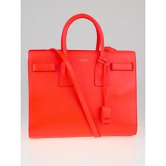 Pre-owned Saint Laurent Neon Orange Calfskin Leather Classic Small Sac... ($2,000) ❤ liked on Polyvore featuring bags, handbags, orange handbags, yves saint laurent, calfskin purse, calfskin handbag and long purses