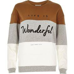 River Island Grey wonderful slogan sweatshirt (560 SEK) ❤ liked on Polyvore featuring tops, hoodies, sweatshirts, sweaters, shirts, grey, t shirts / tanks / sweats, women, color block sweatshirt and gray crewneck sweatshirt